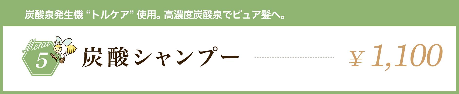 """炭酸泉発生機""""トルケア""""使用。高濃度炭酸泉でピュア髪へ。炭酸シャンプー¥1,000"""